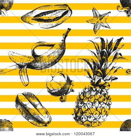 Hand drawn tropical fruits stripped seamless pattern