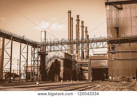 Factory In Steel Industry, Uk. Vintage Tone.