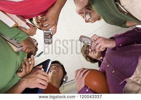 Five students stood together