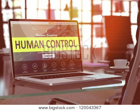 Human Control Concept on Laptop Screen.