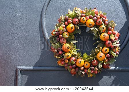 Traditional wreath on doorway