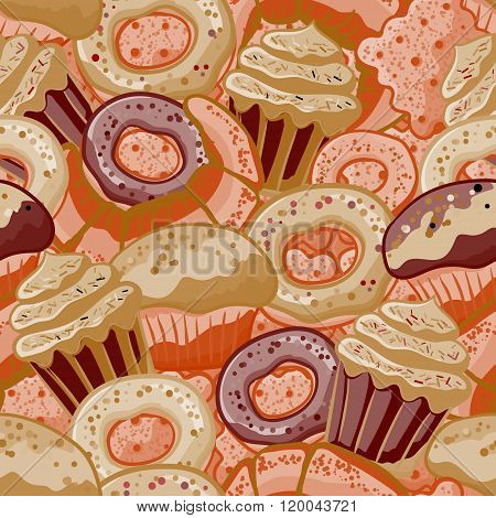 Vector food bakery seamless pattern with baked goods. Flour products from pastry shop. Illustration for print, web. Original design element. Chocolate colors.