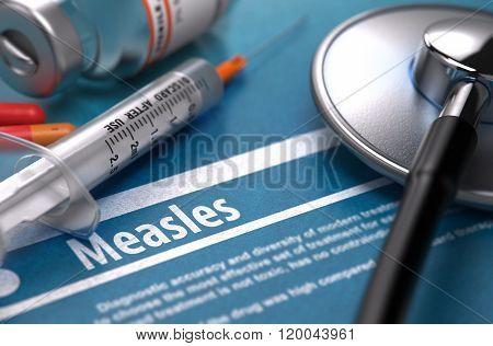 Measles. Medical Concept on Blue Background.