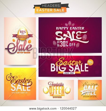 Big Sale Header set with fantastic discount offer for Happy Easter celebration.
