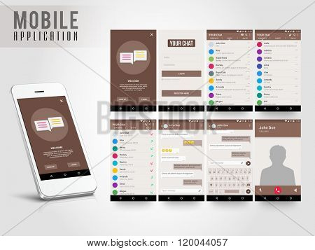 Material Design UI, UX, GUI screens and flat web icons for mobile apps, responsive website with Sign Up, Login Form, Contact List, Chat List and Call List, Message Preview and Calling Features.
