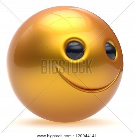 Smile face head ball cheerful sphere emoticon cartoon smiley happy decoration cute yellow golden. Smiling funny joyful person laughing joy character toy good avatar