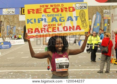 BARCELONA - FEB, 15: Florence Kiplagat after to break half Marathon world record during Barcelona Half Marathon in Barcelona on February 15, 2015 in Barcelona, Spain.