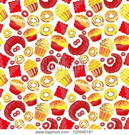 Vector food bakery seamless pattern with baked goods. Flour products from pastry shop. Illustration for print, web. Original design element. Bright red yellow colors.