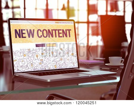 New Content Concept on Laptop Screen.