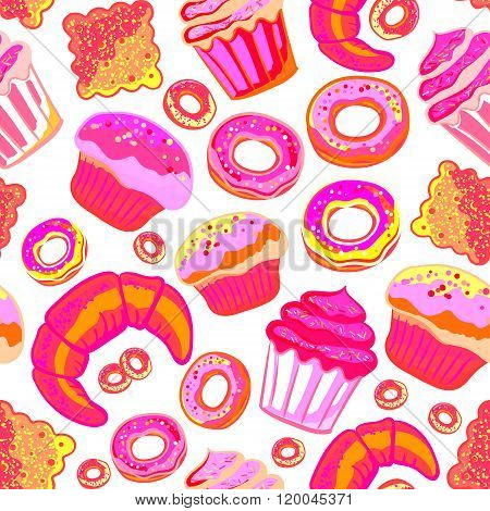 Vector food bakery seamless pattern with baked goods. Flour products from pastry shop. Illustration for print, web. Original design element. Neon pink colors.