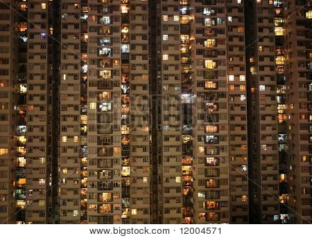 Apartment block at night, Hong, Kong