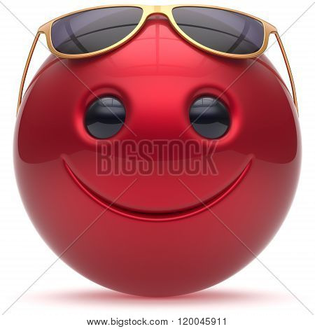 Smiling face head ball cheerful sphere emoticon cartoon smile happy decoration cute red golden sunglasses. Smiley funny joyful person character avatar