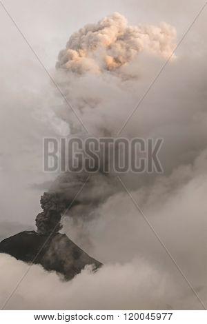 Close-Up Of Tungurahua Volcano Powerful Sunset Explosion February 2016 South America