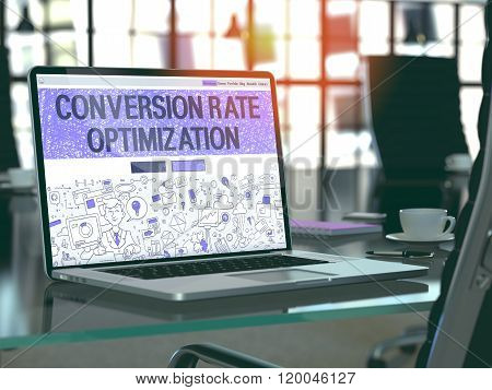 Conversion Rate Optimization Concept on Laptop Screen.