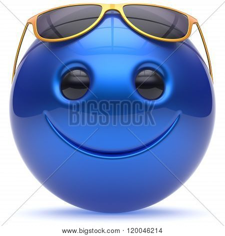 Smiley face cheerful head ball sphere emoticon cartoon smile happy decoration cute blue golden sunglasses. Smiling funny joyful person laughing joy character