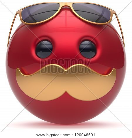 Mustache face emoticon ball happy joyful cartoon handsome person red golden sunglasses fun sphere positive character avatar