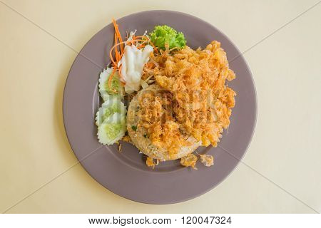 Pork Fried Rice With Omelet On Table