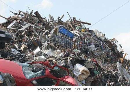 Scrap Metal and household waste at a recycling facility