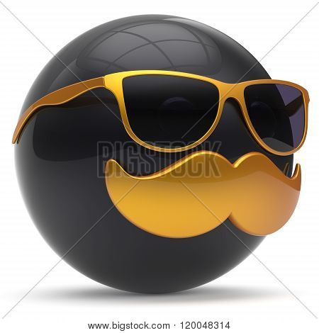 Cartoon mustache face emoticon ball happy joyful handsome person black golden sunglasses caricature icon. Cheerful eyeglasses laughing fun sphere positive smiley character avatar