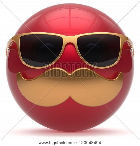 Mustache face emoticon ball happy joyful cartoon handsome person red golden sunglasses caricature. Cheerful stylish laughing fun sphere positive smiley character avatar