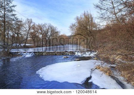 Beaver Dam On Frozen River