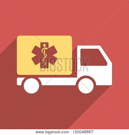 Medical Shipment Flat Longshadow Square Icon