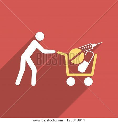 Medical Shopping Cart Flat Longshadow Square Icon