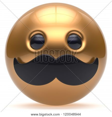 Cartoon mustache face cute emoticon ball happy joyful handsome person golden black caricature stylish