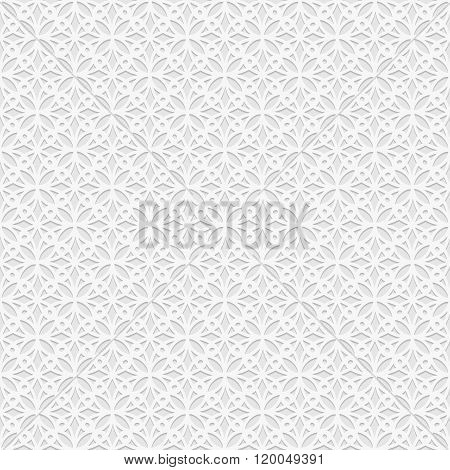 Seamless white 3D pattern arabic motif east ornament indian ornament vector. Endless texture can be