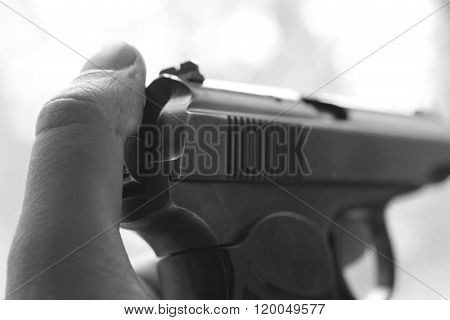 russian pistol isolated on white