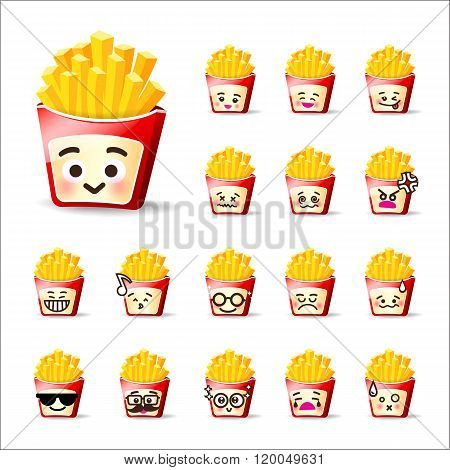 Collection Of Difference Emoticon French Friest Cartoon On White Background