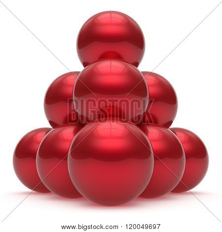 Pyramid sphere ball hierarchy corporation top order leadership element teamwork stable group business concept red shiny sparkling