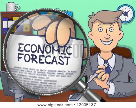Economic Forecast through Lens. Doodle Concept.