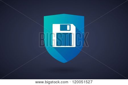 Long Shadow Shield Icon With  A Floppy Disk