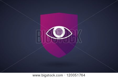 Long Shadow Shield Icon With  An Eye