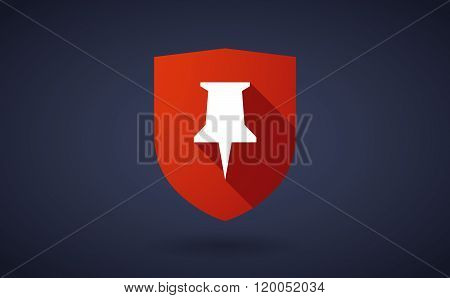 Long Shadow Shield Icon With  A Push Pin