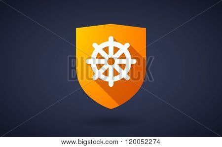 Long Shadow Shield Icon With  A Dharma Chakra Sign