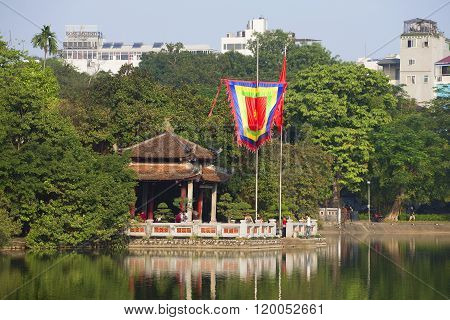Jade temple on the Hoan Kiem lake in the historical center of Hanoi. Vietnam