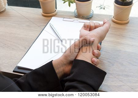 Woman Hand Pain On Desk Office Syndrome Concept