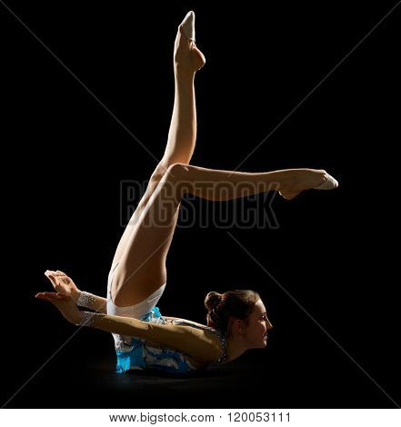 Young girl engaged art gymnastic isolated