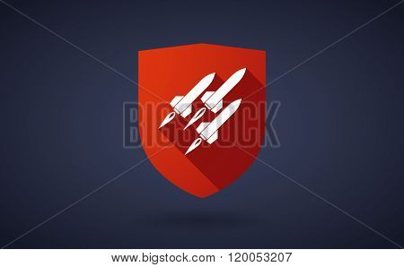 Long Shadow Shield Icon With  Missiles