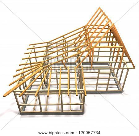 Wooden Frame Of A House (top View).