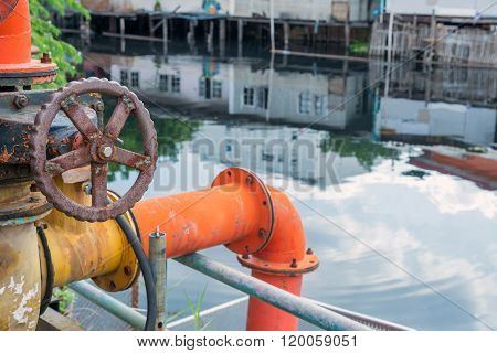 Valve Of Water Pipe For Pump System In Canal