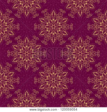 Vector Seamless Mandala Pattern over purple