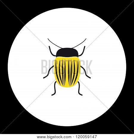 Simple Yellow Little Colorado Beetle Black Icon Eps10
