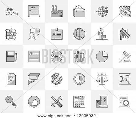 Vector Line Set Of Icons For Safety, Planning And Team.
