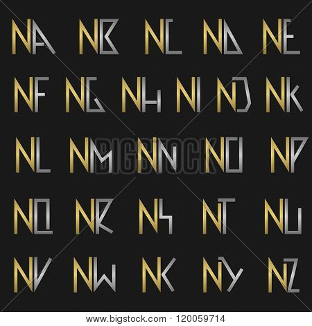 Letter N with alphabet