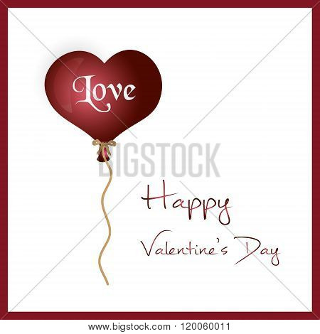 Red Helium Balloon Heart Shape Valentine Card Eps10