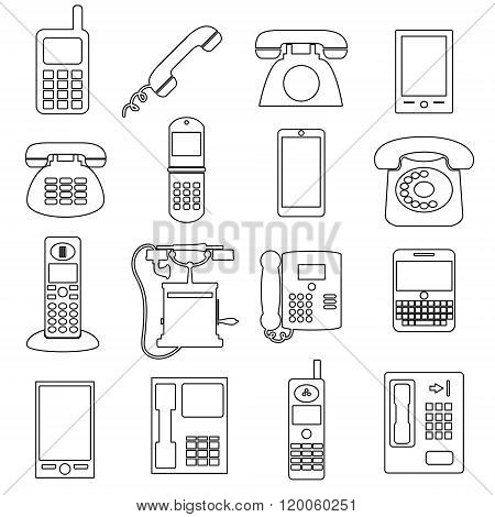 Various Black Phone Symbols And Outline Icons Set Eps10