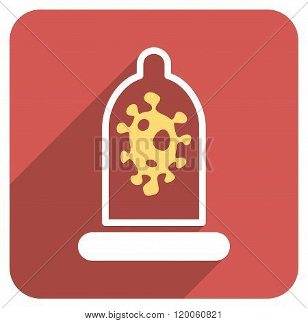 Infection Condom Protection Flat Rounded Square Icon with Long Shadow